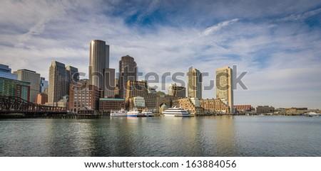 Boston harbor - stock photo