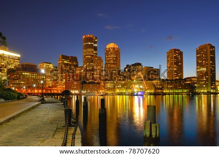 Boston Harbor and Cityscape at Night - stock photo