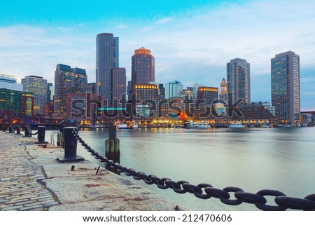 Boston Harbor and Financial District at sunset. Boston- Massachusetts, USA - stock photo