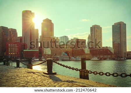 Boston Harbor and Financial District at sunset. Boston- Massachusetts, USA. Retro filter effect. - stock photo