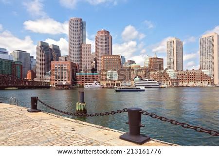 Boston Harbor and Financial District. Boston- Massachusetts, USA - stock photo
