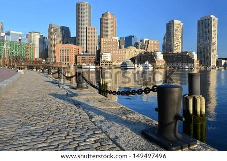 Boston Harbor and Financial District's skyline, Boston, MA, USA - stock photo