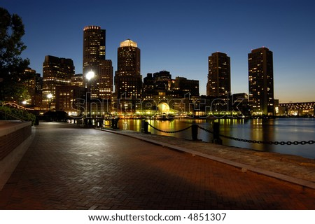 boston harbor at night - stock photo