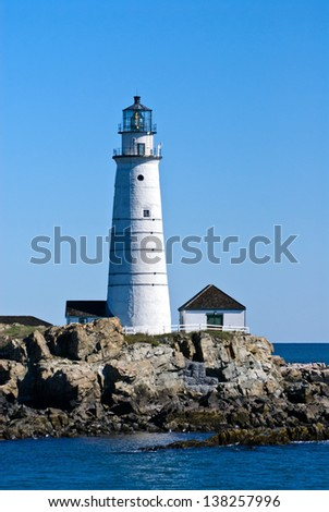 Boston Harbor Lighthouse is the oldest lighthouse in the country. - stock photo