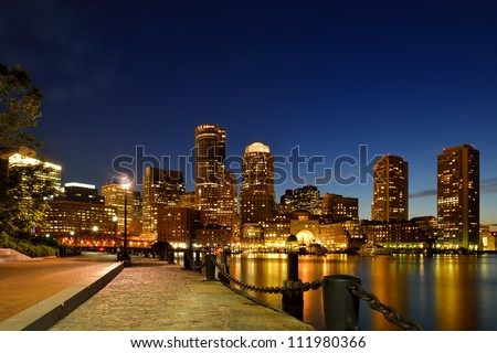 Boston Harbor Walk and Financial District at Twilight - stock photo