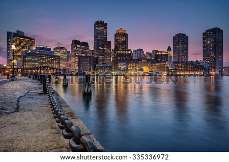 Boston harbour and waterfront - stock photo