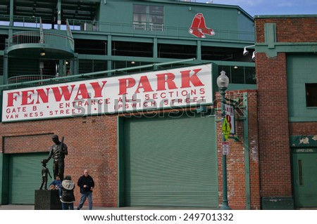 BOSTON - JUL20: The statue in front of Fenway Park on April 20, 2013 in Boston, USA. Fenway Park is the oldest professional sports venue in the United States.  - stock photo
