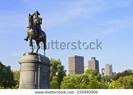 BOSTON - JUNE 06: George Washington riding a horse Statue in Boston Commons Public Garden in Central Boston, Massachusetts, USA. Photo taken on June 30, 2014 in Boston, Massachusetts, USA. - stock photo