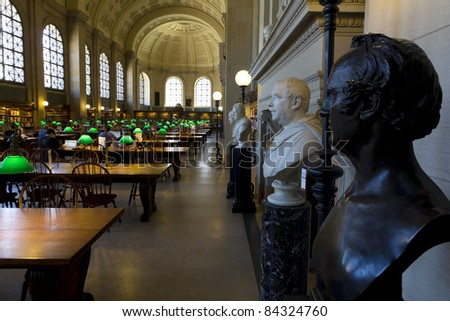BOSTON, MA - SEPTEMBER 9: After the summer vacation, students resume their researches and studies at the Boston Public Library in Boston, Massachusetts on September 9, 2011.