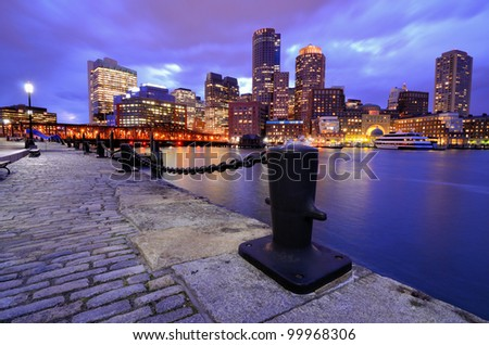 Boston, Massachusetts Financial District viewed from Boston Harbor. - stock photo