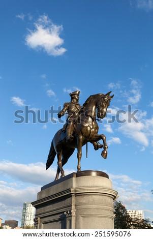 Boston Massachusetts George Washington statue located in the Public Garden. - stock photo