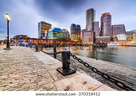 Boston, Massachusetts, USA downtown skyline. - stock photo