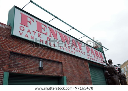 BOSTON - MAY 23: Fenway Park on May 23, 2011 in Boston.  Fenway Park is the oldest professional sports venue in the United States. - stock photo