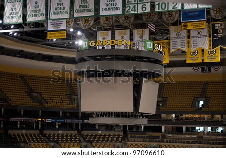 BOSTON -  MAY 23: Scoreboard at the TD Garden on May 23, 2011 in Boston.  The TD Garden is home to the Boston Celtics and Boston Bruins. - stock photo