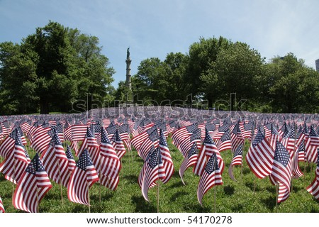 BOSTON - MAY 28: Thousands of American flags adorn the Boston Common for Memorial Day in honor of all the soldiers from Massachusetts who died in service to their country - Boston, May 28, 2010