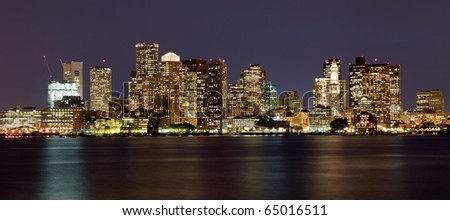 Boston nightly skyline panorama, Massachusetts, USA