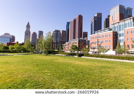 Boston North End Park and slkyline in Massachusetts USA - stock photo