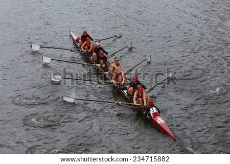 BOSTON - OCTOBER 19, 2014: Alabama University races in the Head of Charles Regatta Women's Championship Eights - stock photo