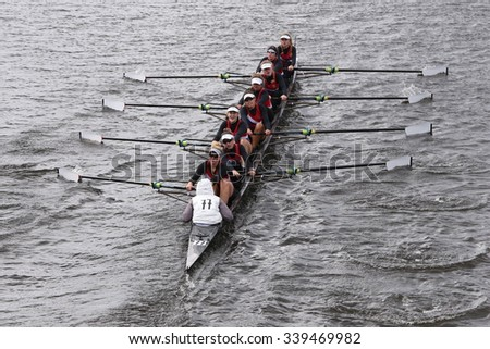 BOSTON - OCTOBER 18, 2015:  Austin races in the Head of Charles Regatta Women's Youth Eights [PUBLIC RACE] - stock photo