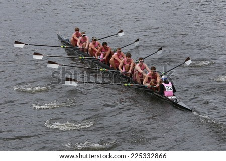 BOSTON - OCTOBER 19, 2014: Brown University races in the Head of Charles Regatta Men's Championship Eights, Craftsbury Sculling Center won with a time of 14:20