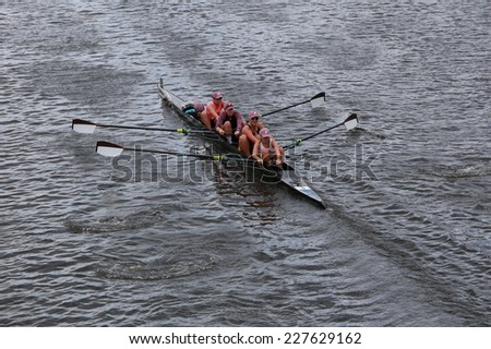 BOSTON - OCTOBER 19, 2014: Brown University races in the Head of Charles Regatta women's Championship Fours - stock photo
