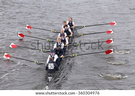 BOSTON - OCTOBER 18, 2015: Christ Church Oxford races in the Head of Charles Regatta Men's Master Eights [PUBLIC RACE]