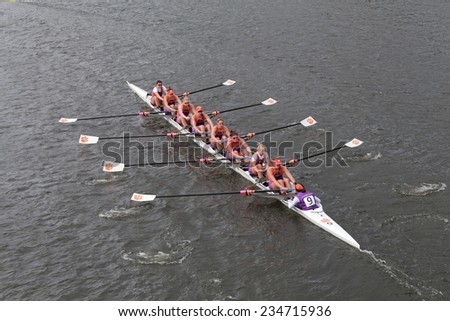 BOSTON - OCTOBER 19, 2014: Clemson University races in the Head of Charles Regatta Women's Championship Eights - stock photo