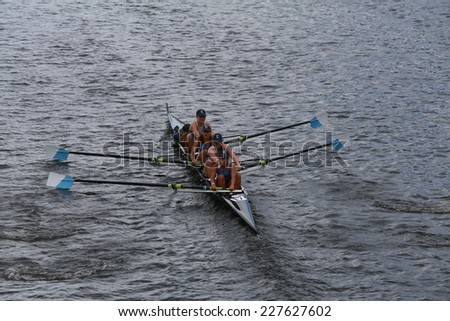 BOSTON - OCTOBER 19, 2014: Columbia University races in the Head of Charles Regatta women's Championship Fours - stock photo