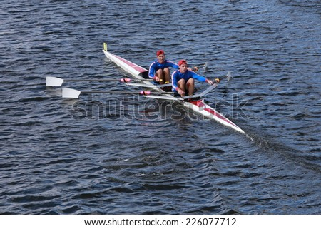 BOSTON - OCTOBER 19, 2014: Don rowing with Steve Dmytrasz and Thomas Lancaster race in the Head of Charles Regatta Men's Master Doubles, 612endurance Rowing won with a time of 18:58 - stock photo