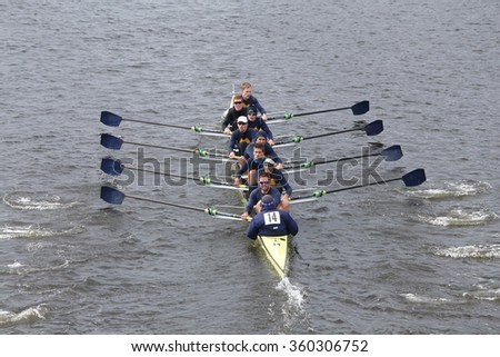 BOSTON - OCTOBER 18, 2015: Drexel races in the Head of Charles Regatta Men's Master Eights [PUBLIC RACE]