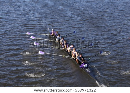 BOSTON - OCTOBER 23, 2016: Gonzaga  races in the Head of Charles Regatta Men's Youth Eights [PUBLIC RACE]