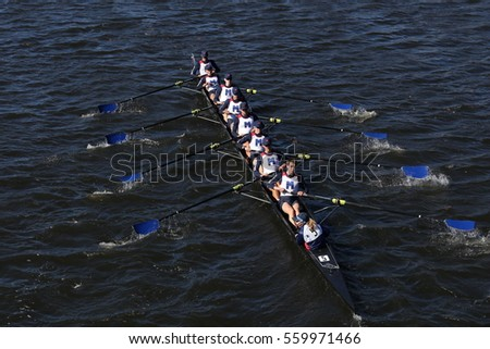 BOSTON - OCTOBER 23, 2016: Mercer races in the Head of Charles Regatta Men's College Eights [PUBLIC RACE]