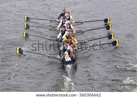 BOSTON - OCTOBER 18, 2015: Michigan races in the Head of Charles Regatta Men's Master Eights [PUBLIC RACE]