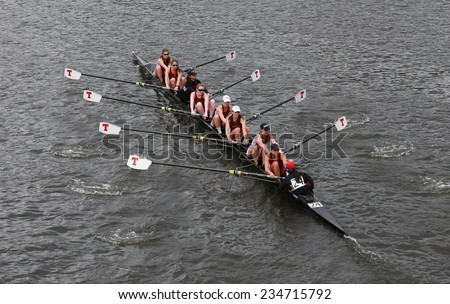 BOSTON - OCTOBER 19, 2014: MIT races in the Head of Charles Regatta Women's Championship Eights - stock photo