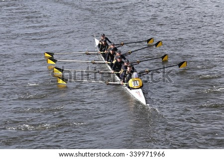 BOSTON - OCTOBER 18, 2015: Nauset Tech  races in the Head of Charles Regatta Women's Youth Eights [PUBLIC RACE] - stock photo