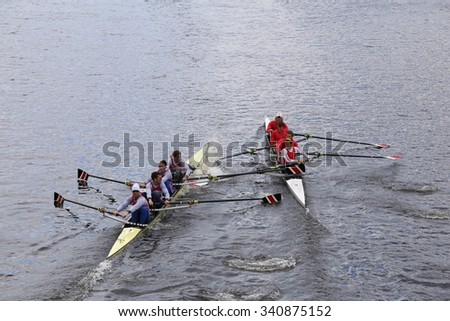 BOSTON - OCTOBER 18, 2015: Northeastern (left) and Cornell(right) collide  in the Head of Charles Regatta Mens's Championship Fours [PUBLIC RACE]