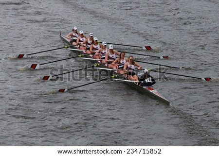 BOSTON - OCTOBER 19, 2014: Northeastern University races  in the Head of Charles Regatta Women's Championship Eights