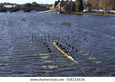 BOSTON - OCTOBER 22, 2016:  races in the Head of Charles Regatta Men's College Eights [PUBLIC RACE] Drexel (bottom) UC Santa Barbara (right) Wpi (top)