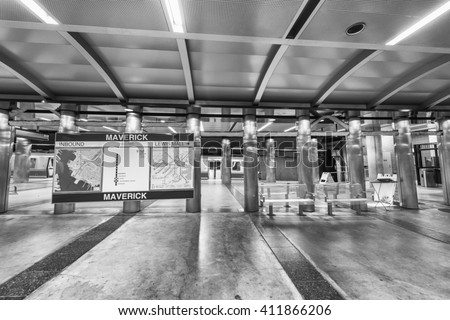 BOSTON - OCTOBER 17, 2015: Subway station interior. Going by subway is the best way to move around the city.