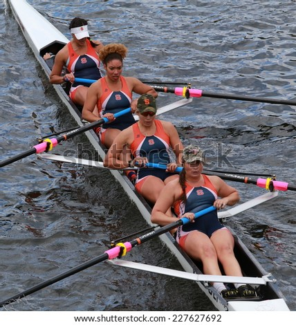 BOSTON - OCTOBER 19, 2014: Syracuse University races in the Head of Charles Regatta women's Championship Fours - stock photo