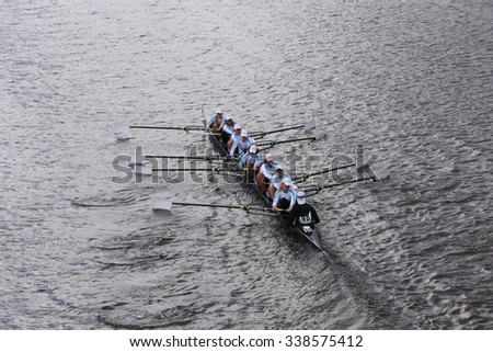 BOSTON - OCTOBER 18, 2015: Tulsa Youth  Tulsa Youth races in the Head of Charles Regatta Women's Youth Eights [PUBLIC RACE] - stock photo