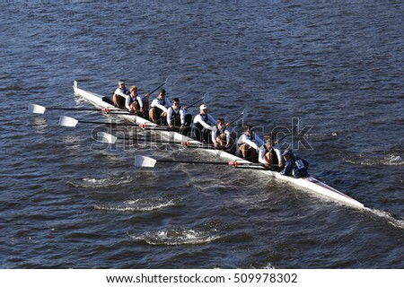BOSTON - OCTOBER 22, 2016:   UC San Diego  races in the Head of Charles Regatta Men's College Eights [PUBLIC RACE]