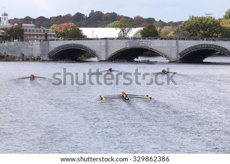 BOSTON - OCTOBER 18, 2015: Upper Arlington races in the Head of Charles Regatta Women's Youth Eights - stock photo