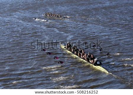 BOSTON - OCTOBER 22, 2016: Williams College Boat Club races in the Head of Charles Regatta Men's College Eights [PUBLIC RACE]