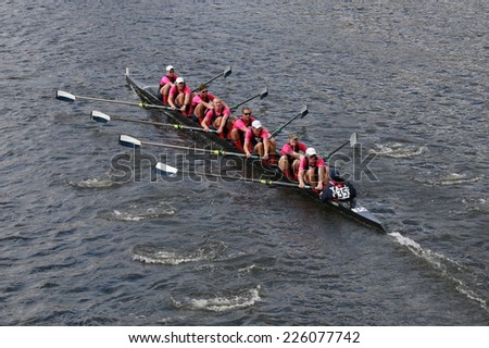 BOSTON - OCTOBER 19, 2014: Yale University races in the Head of Charles Regatta Men's Championship Eights, Craftsbury Sculling Center won with a time of 14:20