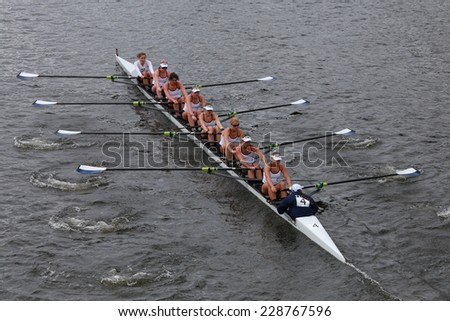 BOSTON - OCTOBER 19, 2014: Yale University Rowing races in the Head of Charles Regatta Women's Championship Eights - stock photo