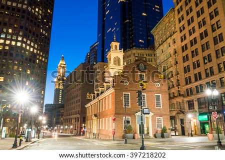 Boston Old State House buiding at night in Massachusetts USA - stock photo