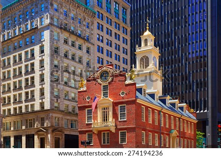 Boston Old State House buiding in Massachusetts  USA - stock photo