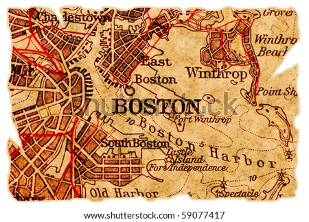 Boston on an old torn map, isolated. Part of the old map series. - stock photo