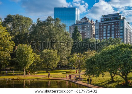 Boston Park with buildings